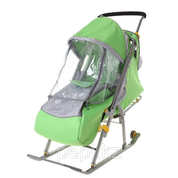 """Санки-коляска """"Ника Детям 4"""" с прорезиненными колёсами, цвет зелёный"""