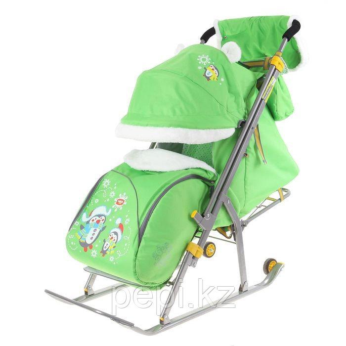 """Санки-коляска """"Ника Детям 6 - пингвины"""" с прорезиненными колёсами, цвет салатовый"""