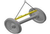Траверса с цепочками для перемещения колёсной пары за внутренние грани колёс
