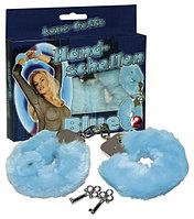 Наручники с мехом для безобидных взрослых игр (голубой цвет), фото 1