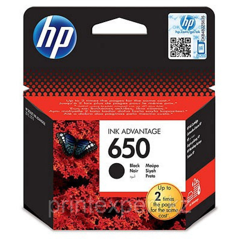 HP CZ101AE Black Ink Cartridge №650 for Deskjet Ink Advantage 2515, up to 360 pages. ;