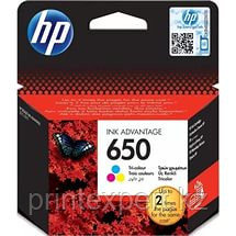 HP CZ102AE Tri-colour Ink Cartridge №650 for Deskjet Ink Advantage 2515, up to 200 pages. ;