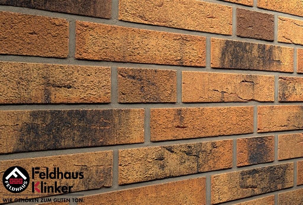 """Клинкерная плитка """"Feldhaus Klinker"""" для фасада и интерьера R286 nolani viva rustico carbo"""