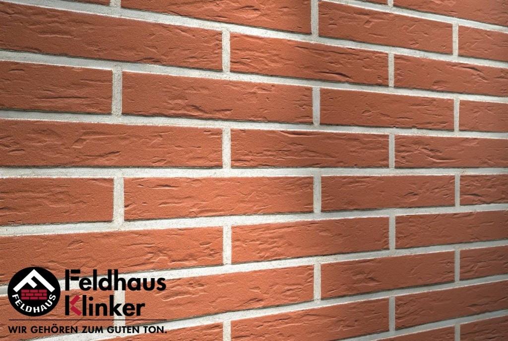 """Клинкерная плитка """"Feldhaus Klinker"""" для фасада и интерьера R440 carmesi senso"""