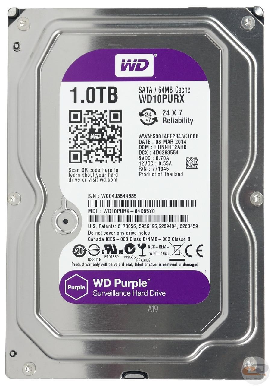 Жесткий диск 1Tb WD Purple WD10PURX для видеонаблюдения