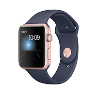 Apple watch series 2 42mm rose gold aluminium case with midnight blue sport