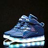 LED Кроссовки детские со светящейся подошвой, классические высокие, синие