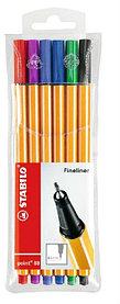 Ручка капилярная, 0.4мм, 6цветов, набор Stabilo