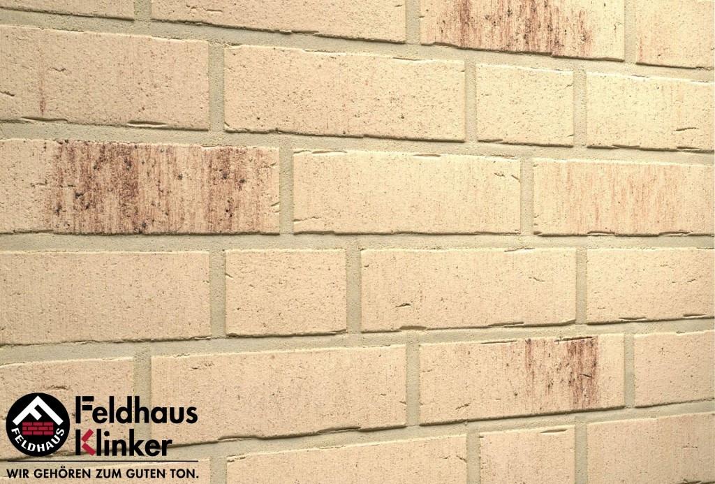 """Клинкерная плитка """"Feldhaus Klinker"""" для фасада и интерьера R742 vascu crema petino"""