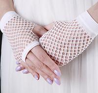 Перчатка Сетка короткие без пальцев (белые)