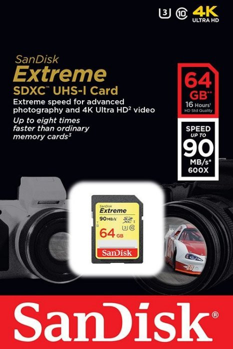 SanDisk Extrime 64GB SDHC 90MB/S Class 10