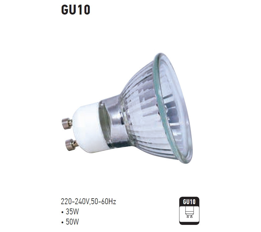 Галогенная лампа Horoz GU-10 35 Ватт со стеклом