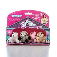 "Beanzeez мини плюш в наборе ""Медведь, Енот, Кролик, Песик"""