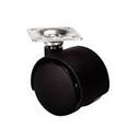 Мебельный ролик с площадкой D40 мм , пластик, черный, 42 х 42
