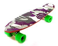 """Скейтборд классика """"Цветочный камуфляж"""" (Пенни борд ) 22,5"""" (деревянная дека / зеленые колеса / зеле, фото 1"""