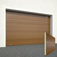 Ворота секционные RSD02, дизайн панели: доска, цвет: золотой дуб.