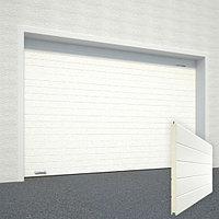 Ворота секционные RSD02, дизайн панели: горизонтальная полоса (гофра), цвет: белый., фото 1