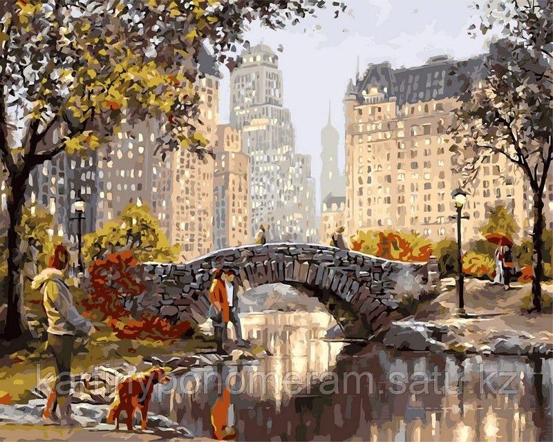 """Картины по номерам  - Алматы,  """"Каменный мостик осенью"""""""