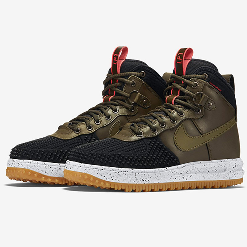 Зимние кроссовки Nike Lunar Force 1 Duckboot Dark Loden/Bright Crimson (40-47)