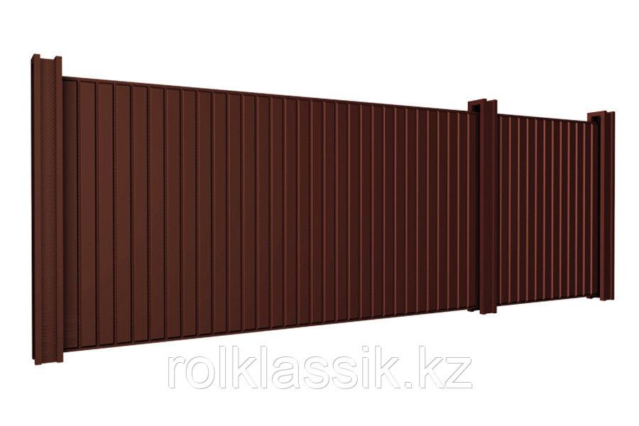 Откатные ворота 3500х2000 стандартные под профлист