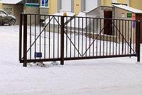 Откатные ворота 3500х2000 стандартные с решеткой из профильной трубы