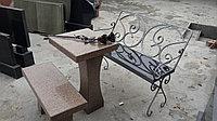 Скамья металлическая с каменным сиденьем