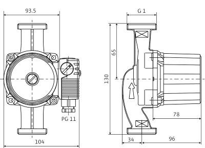 Мотор в горизонтальном положении. Возможные положения клеммной коробки: 3, 6, 9 и 12 часов. При поставке клеммная коробка находится в положении 3 часа
