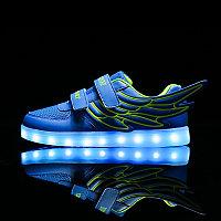 LED Кроссовки детские со светящейся подошвой низкие, синие крылья, фото 1