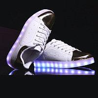 LED Кроссовки со светящейся подошвой, бело-золотые низкие, 37-41