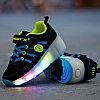 Кроссовки на роликах с подсветкой, черно-голубые замшевые