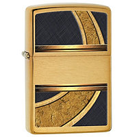 Зажигалка Zippo 28673Gold and Black Design Brushed Brass