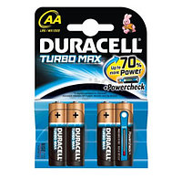 Батарейки Duracell Turbo Max пальчиковые AA LR6/MX1500, 1.5 V, 4 шт./уп., цена за упаковку
