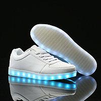 LED Кроссовки со светящейся подошвой, белые низкие, 35-41