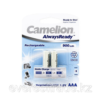 Аккумулятор, CAMELION, NH-AAA900ARBP2, AlwaysReady Rechargeable, AAA, 1.2V, 900 mAh, 2 шт., Блистер, фото 2