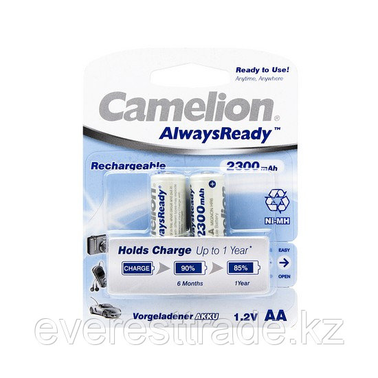 Аккумулятор, CAMELION, NH-AA2300ARBP2, AlwaysReady Rechargeable, AA, 1.2V, 2300 mAh, 2 шт., Блистер