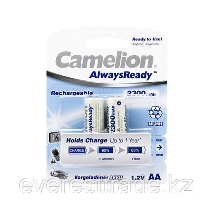 Аккумулятор, CAMELION, NH-AA2300ARBP2, AlwaysReady Rechargeable, AA, 1.2V, 2300 mAh, 2 шт., Блистер, фото 2