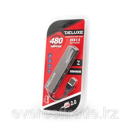 Расширитель USB, Deluxe, DUH4009B, 4 Порта, USB 2.0 Hi-Speed, фото 2