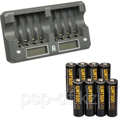 ЗУ на 8 аккумуляторов + 8 аккумуляторов Watson 8-Bay Rapid Charger Kit with AA MX NiMH Rechargeable Batteries (2550mAh, 8-Pack)
