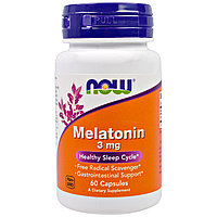 Мелатонин, 3 мг, 60 капсул (Melatonin 3 mg, 60 capsules), Now Foods