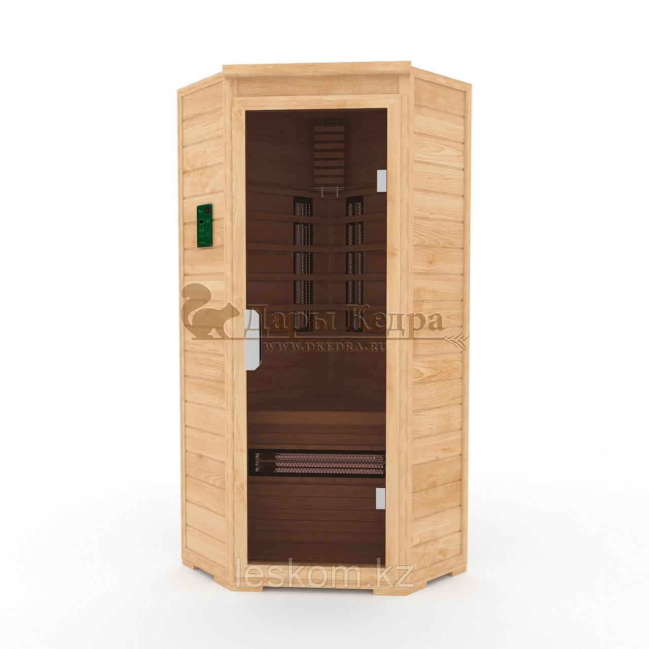 Инфракрасная сауна одноместная угловая с керамическими излучателями. Размеры: 1000х1000х2000 мм