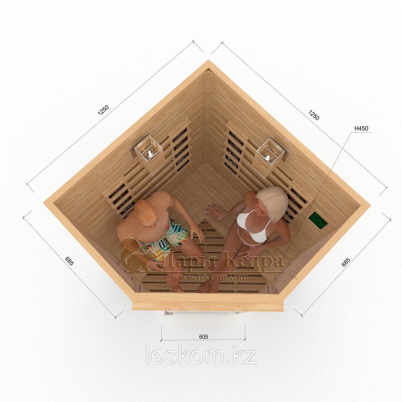 Инфракрасная сауна двухместная угловая с керамическими излучателями. Размеры: 1250х1250х2000 мм