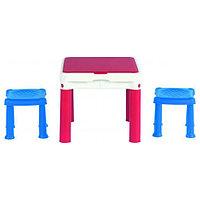 KETER Столик для игр с конструктором 3в1+2 табуретки(КОНСТРУКТОР В КОМПЛЕКТ НЕ ВХОДИТ(50,5x50,5x44,5h)