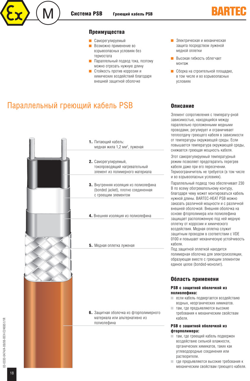 Саморегулирующийся нагревательный кабель PSB