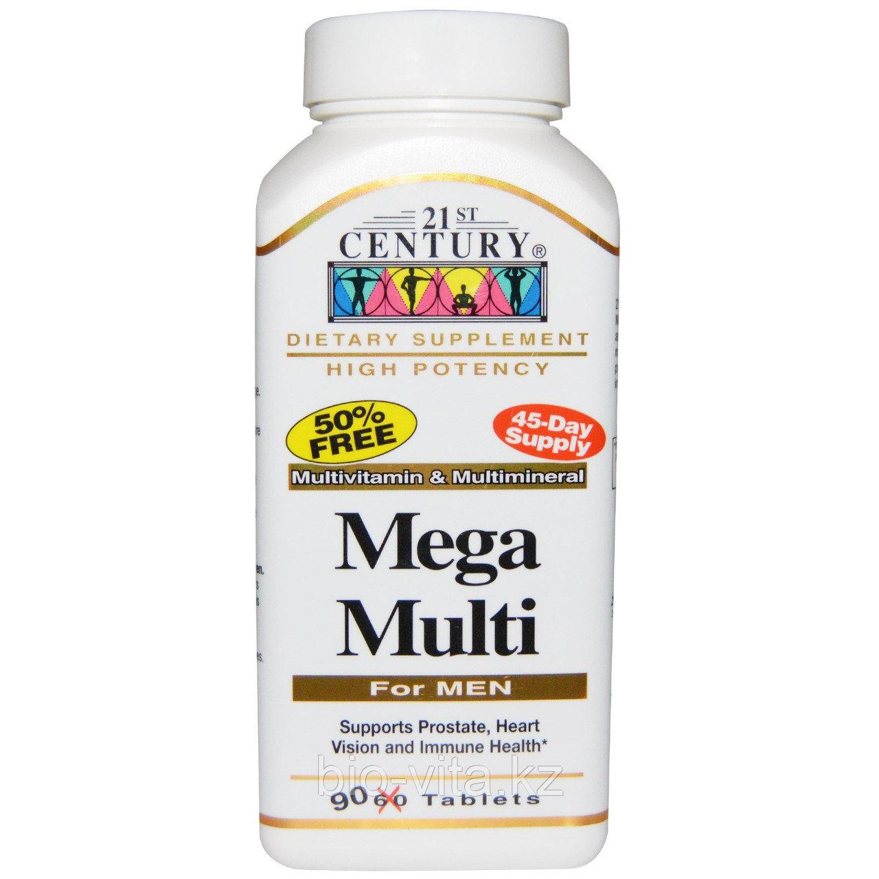 21st Century, Mega Multi, для мужчин,витамины и минералы, 90 таблеток. Плюс профилактика простатита.