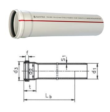 Труба (канализационная) ПВХ SANTEC 75/1000 (3.2)