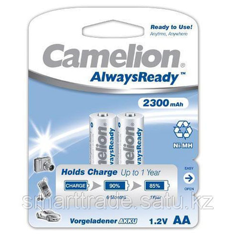 Аккумулятор Camelion AlwaysReady Rechargeable, NH-AA2300ARBP2, AA, 1.2V, 2300 mAh, 2 шт., фото 2