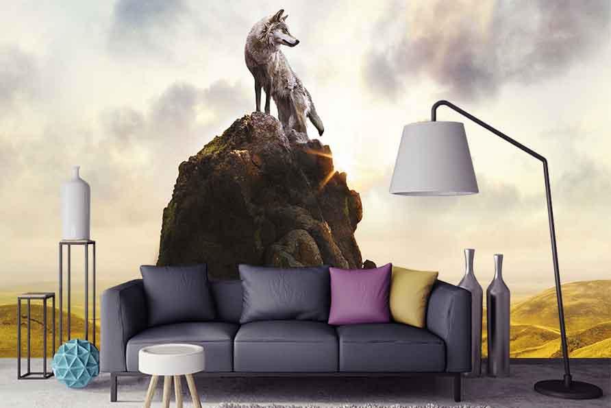Фотообои Волк на скале