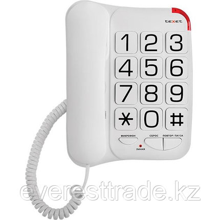 Телефон проводной Texet ТХ-201 белый, фото 2