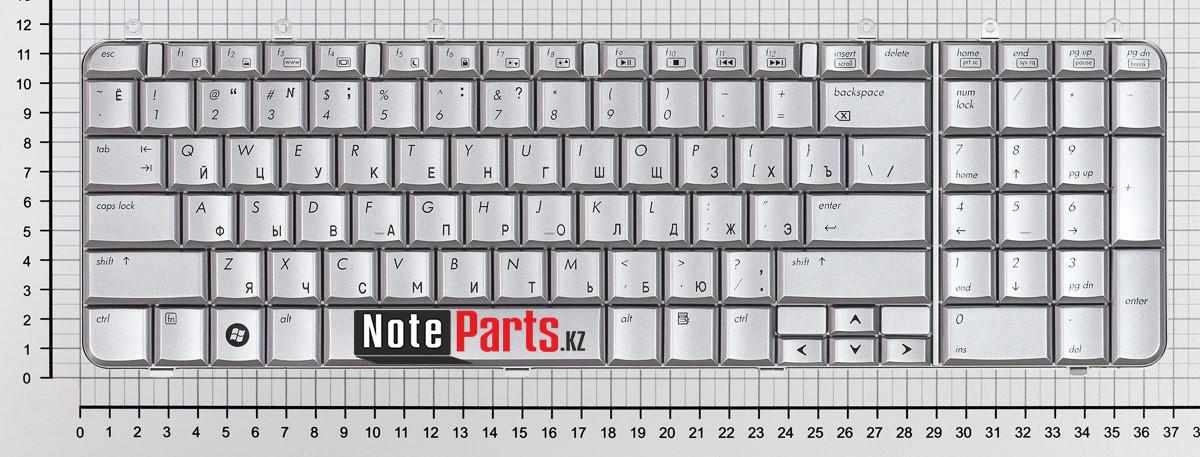 Клавиатура для ноутбука HP Pavilion DV7-1000/ DV7-1200 / DV7-1500  серебро