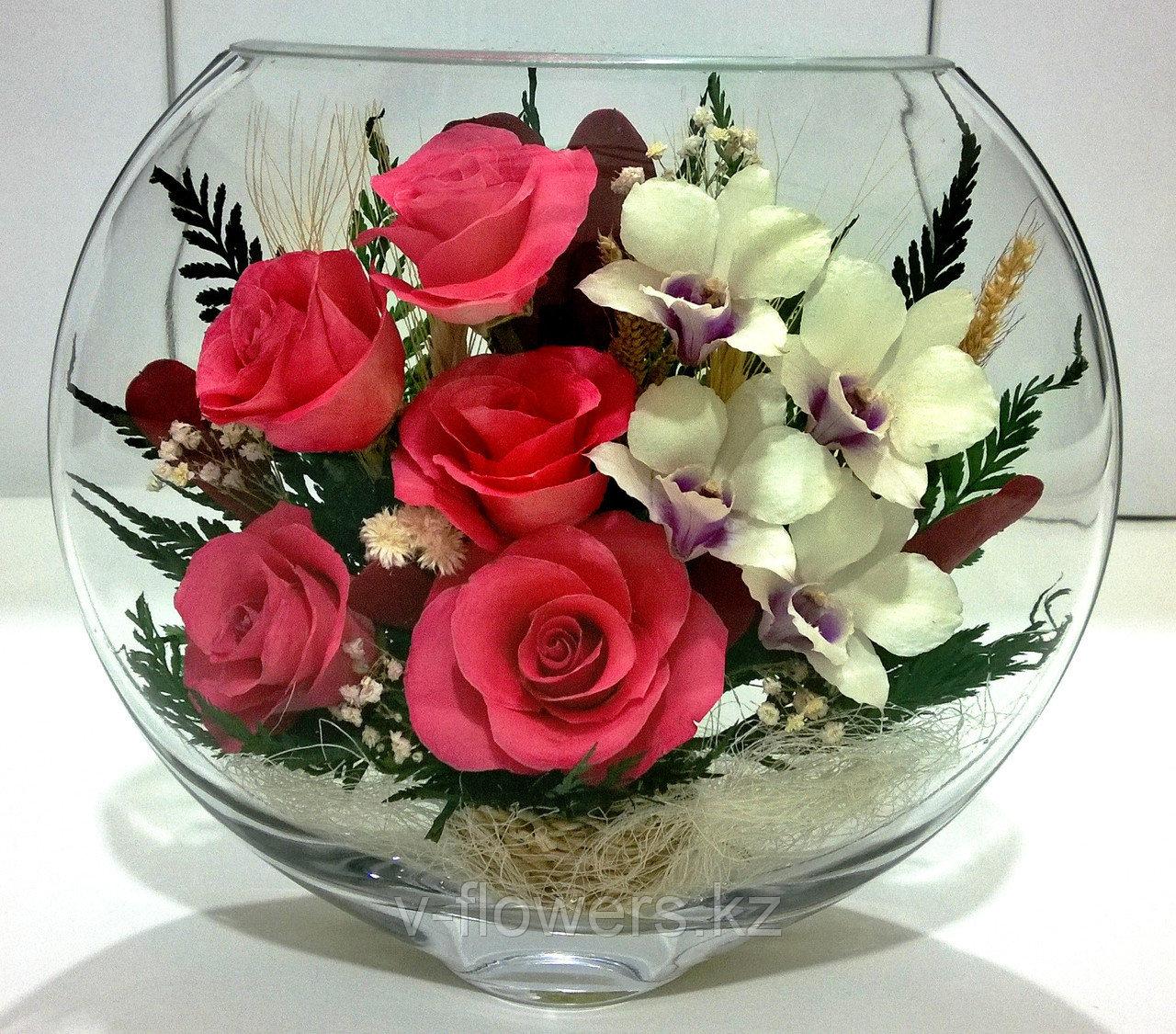 Живые цветы в стекле ESM-04